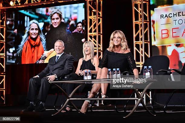 Scott Woodward Bettina Hollings and Rachel Hunter attend the Ovation 2016 Winter TCA Tour introducing three series featuring Rachel Hunter Reza Aslan...
