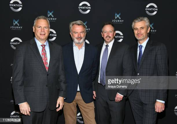 Scott Woodward Sam Neill David Widerøe and Phil Gilligan at Ovation Presents Upcoming Programming at 2019 Winter TCA Tour With Julia Stiles Lena Olin...