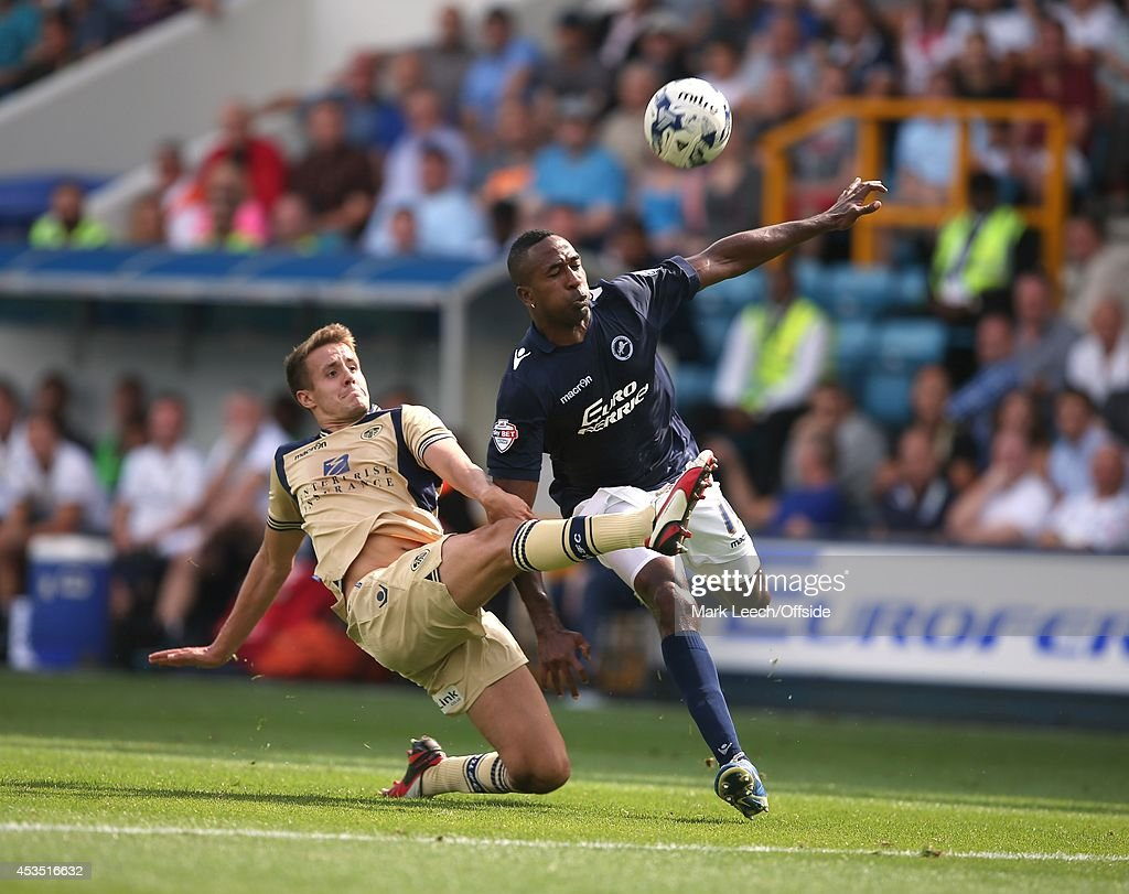 Scott Wooton of Leeds gets to the ball before Ricardo Fuller of Millwall during the Sky Bet Championship match between Millwall and Leeds United at The Den on August 9, 2014 in London, England.