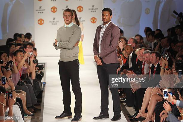 Scott Wootton and Bebe of Manchester United pose during a Hublot Charity Dinner and Fashion Show event in aid of the MU Foundation at ShangriLa Hotel...