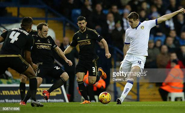 Scott Wootton of Leeds United FC attempts an ambitious shot on goal during the Sky Bet Championship match between Leeds United and Nottingham Forest...