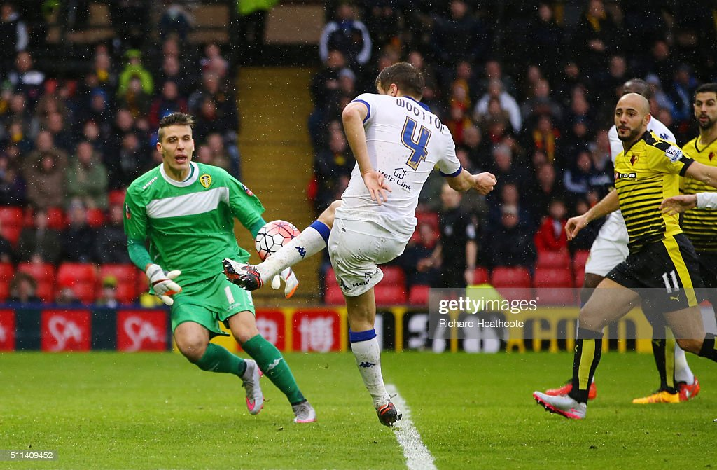 Scott Wootton of Leeds United kicks the ball resulting in an own goal during the Emirates FA Cup fifth round match between Watford and Leeds United at Vicarage Road on February 20, 2016 in Watford, England.