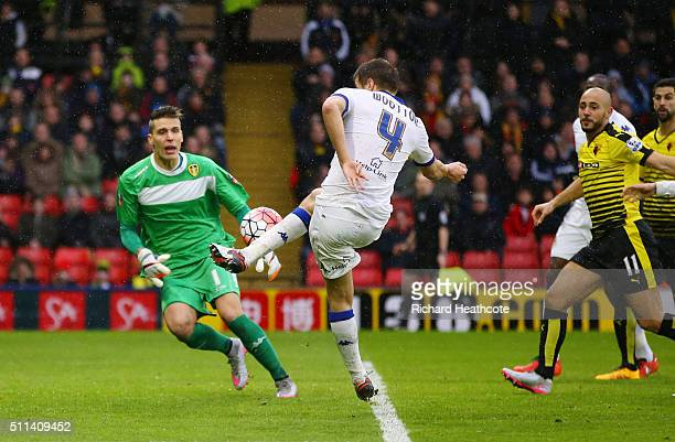 Scott Wootton of Leeds United kicks the ball resulting in an own goal during the Emirates FA Cup fifth round match between Watford and Leeds United...