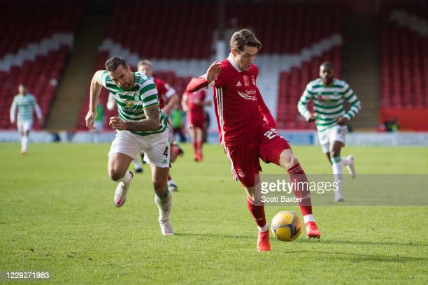 Scott Wright of Aberdeen and Shane Duffy of Celtic during the Ladbrokes Premiership match between Aberdeen and Celtic at Pittodrie Stadium on October...