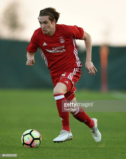 Scott Wright of Aberdeen FC in action during a friendly match between Aberdeen FC and Lokomotiv Tashkent FC at Jebel Ali Centre of Excellence on...