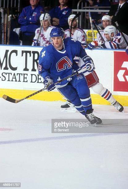 Scott Young of the Quebec Nordiques skates on the ice during an NHL game against the New York Rangers on March 30 1995 at the Madison Square Garden...