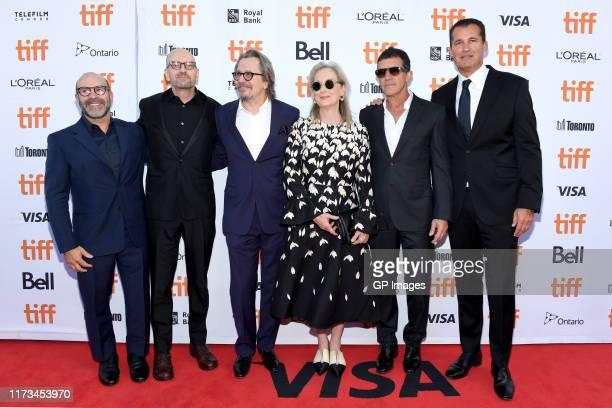 Scott Z Burns Steven Soderbergh Gary Oldman Meryl Streep and Antonio Banderas attend The Laundromat premiere during the 2019 Toronto International...