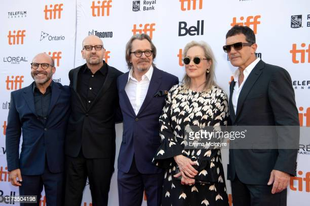 Scott Z Burns Steven Soderbergh Gary Oldman Meryls Streep and Antonio Banderas attend the North American Premiere of 'The Laundromat' at the The...