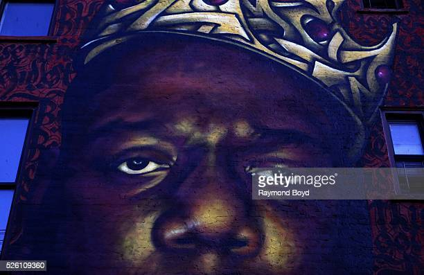 Scott 'Zimer' Zimmerman and Naoufal 'Rocko' Alaoui's mural of late rapper Christopher 'Notorious BIG' Wallace in the BedfordStuyvesant neighborhood...