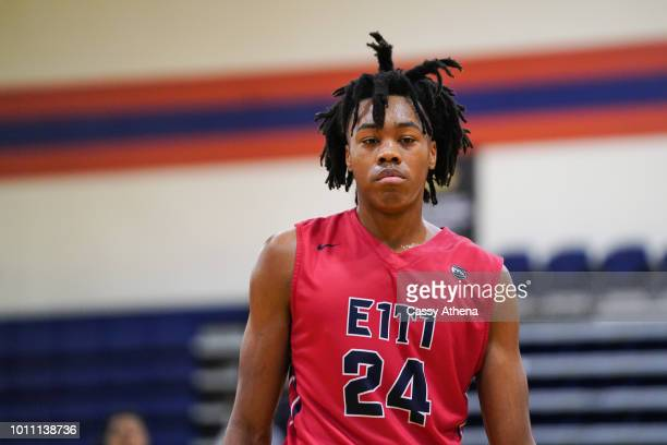Scottie Barnes of Team Each 1 Teach 1 looks on at the Fab 48 tournament at Bishop Gorman High School on July 26 2018 in Las Vegas Nevada
