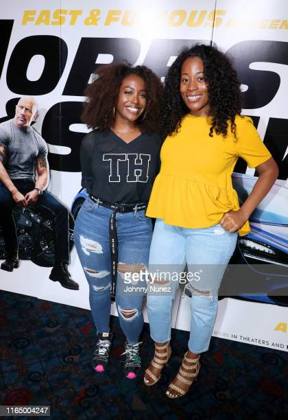 Scottie Beam and Jasmine Mazyck attend Fast Furious Presents Hobbs Shaw screening hosted by Idris Elba and Angie Martinez on July 29 2019 at Regal...