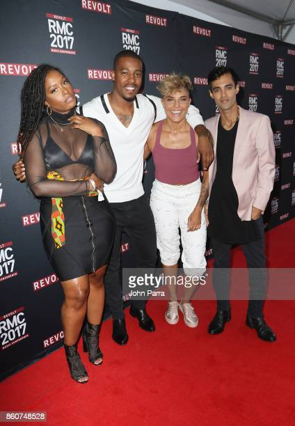 Scottie Beam DJ Damage Hannah Rad and Amrit Singh attend the 2017 REVOLT Music Conference Chairman's Welcome Ceremony at Eden Roc Hotel on October 12...