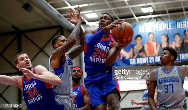 Scottie Lindsey of the Grand Rapids Drive goes to the basket against the Texas Legends on December 12 2018 at DeltaPlex Arena in Grand Rapids...