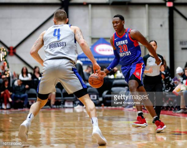 Scottie Lindsey of the Grand Rapids Drive handles the ball against the Texas Legends on December 12 2018 at DeltaPlex Arena in Grand Rapids Michigan...