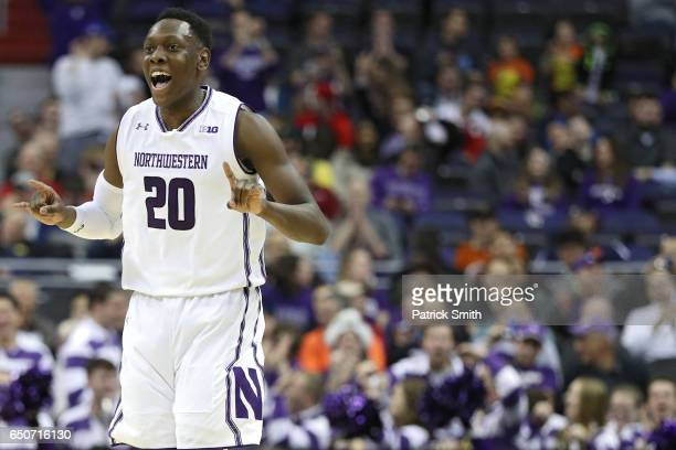 Scottie Lindsey of the Northwestern Wildcats celebrates against the Rutgers Scarlet Knights during the first half in the second round of the Big Ten...