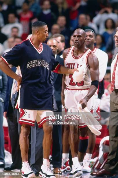 Scottie Pippen and Michael Jordan of the Chicago Bulls during the game against the Indiana Pacers on April 20 1996 at the United Center in Chicago...