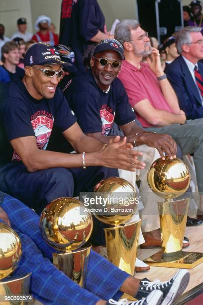 Scottie Pippen and Michael Jordan of the Chicago Bulls during the 1998 Chicago Bulls Celebration Rally on June 16 1998 at Grant Park in Chicago...