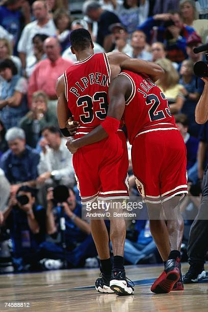 Scottie Pippen and Michael Jordan of the Chicago Bulls embrace after a big win in the 1997 NBA season NOTE TO USER User expressly acknowledges that...