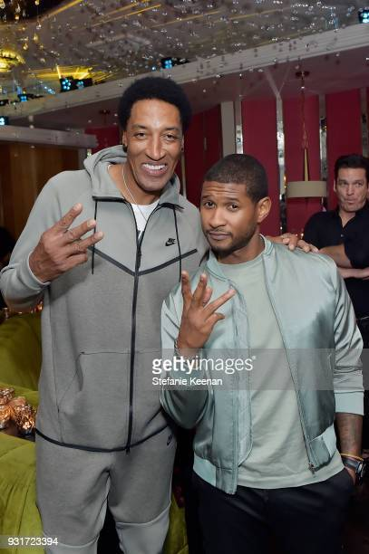 Scottie Pippen and Usher attend Lorraine Schwartz launches The Eye Bangle a new addition to her signature Against Evil Eye Collection at Delilah on...