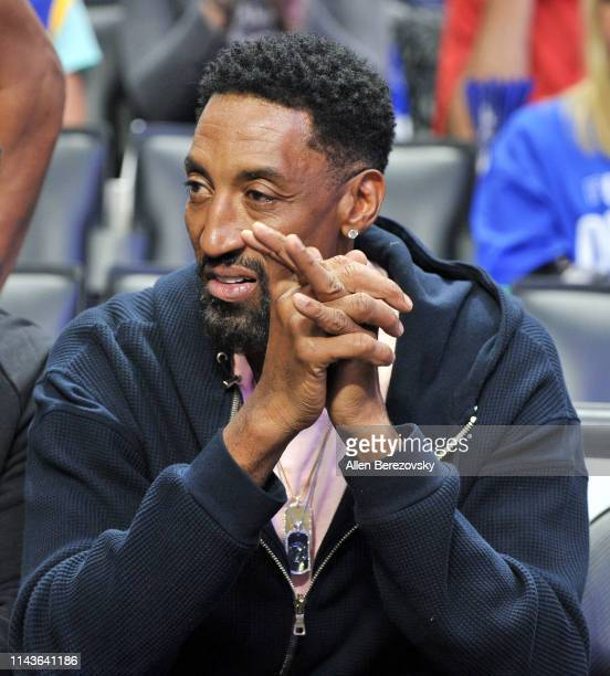 Scottie Pippen attends an NBA playoffs basketball game between the Los Angeles Clippers and the Golden State Warriors at Staples Center on April 18...