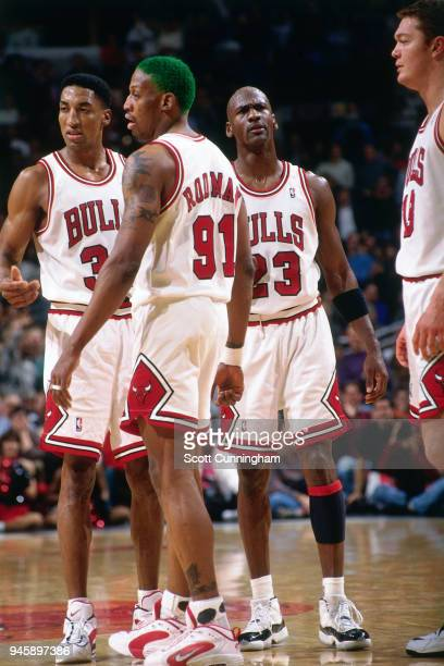 Scottie Pippen Dennis Rodman and Michael Jordan of the Chicago Bulls during the game against the New York Knicks on December 6 1995 at the United...