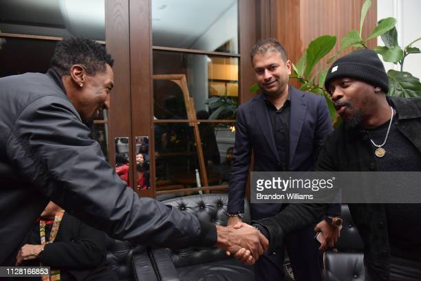 Scottie Pippen greets Anthony Hamilton at the Haute Living celebration of Quincy Jones with RollsRoyce and LOUIS XIII at Mr C Beverly Hills on...