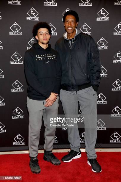Scottie Pippen Jr and Scottie Pippen attend the grand opening of E3 Chophouse Nashville on November 20 2019 in Nashville Tennessee