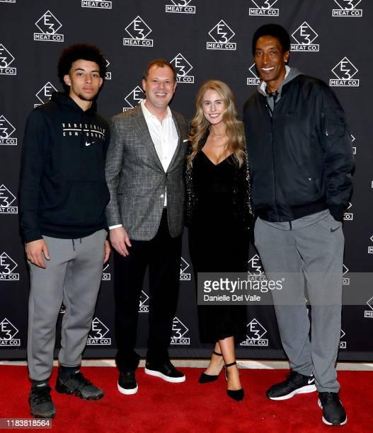 Scottie Pippen Jr Brian Parker JillianCardarelli and Scottie Pippen attend the grand opening of E3 Chophouse Nashville on November 20 2019 in...