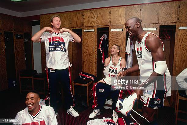 Scottie Pippen Larry Bird Chris Mullen and Michael Jordan of the US Mens Olympic Basketball Team in the locker room circa 1992 during the 1992 Summer...