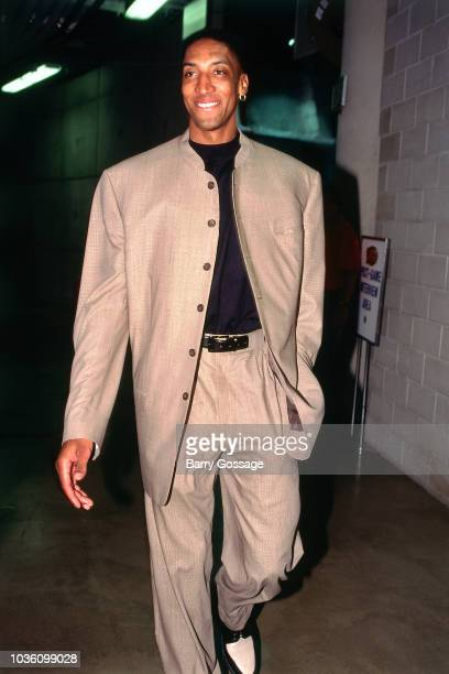 Scottie Pippen of Chicago Bulls arrives before the game against the Utah Jazz on June 6 1997 at the Delta Center in Salt Lake City UT NOTE TO USER...