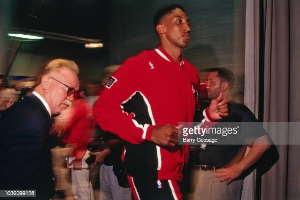 Scottie Pippen of Chicago Bulls gets introduced before the game against the Utah Jazz on June 6 1997 at the Delta Center in Salt Lake City UT NOTE TO...