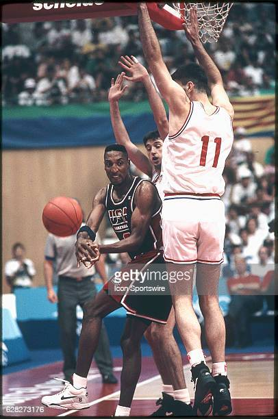 Scottie Pippen of Team USA the Dream Team tries to pass the ball during the men's basketball competition at the 1992 Summer Olympics in Barcelona...