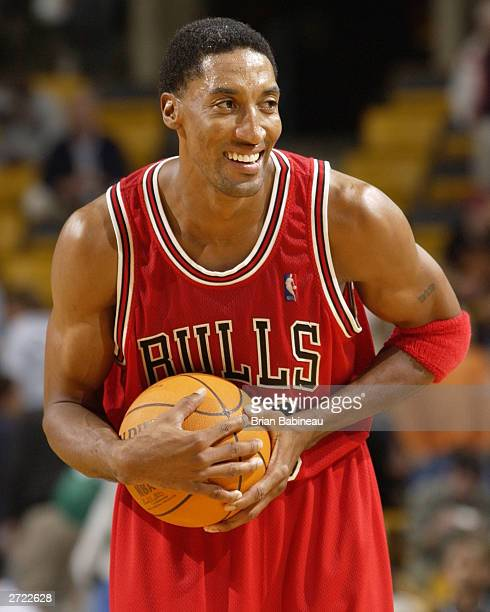 Scottie Pippen of the Chicago Bulls celebrates after their victory against the Boston Celtics at the Fleetcenter on November 12 2003 in Boston...