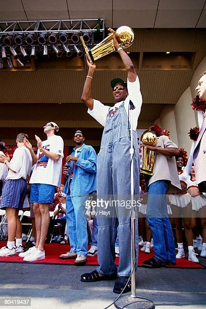 Scottie Pippen of the Chicago Bulls celebrates with the Larry O'Brien trophy at the Bulls' NBA Championship parade in Chicago Illinois NOTE TO USER...