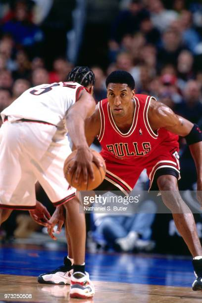 Scottie Pippen of the Chicago Bulls defends Allen Iverson of the Philadelphia 76ers during a game played on January 15 1998 at the First Union Arena...