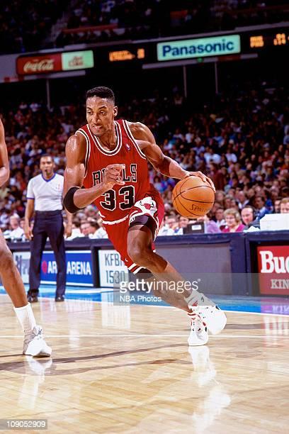 Scottie Pippen of the Chicago Bulls dribbles against the Portland Trailblazers circa 1994 at the Veterans Memorial Coliseum in Portland Oregon NOTE...