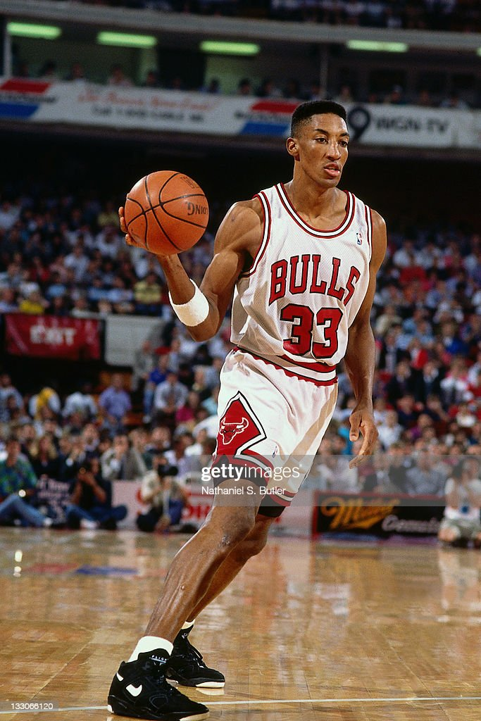 Scottie Pippen of the Chicago Bulls dribbles during the 1992