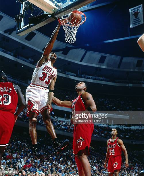 Scottie Pippen of the Chicago Bulls dunks against the Miami Heat in Game Two of the 1996 Eastern Conference Quarterfinals during the 1998 NBA...
