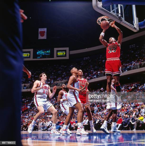 Scottie Pippen of the Chicago Bulls dunks against the New Jersey Nets circa 1990 at the Brendan Byrne Arena in East Rutherford New Jersey NOTE TO...