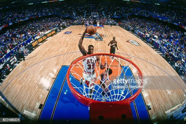 Scottie Pippen of the Chicago Bulls dunks during the 1997 AllStar Game on February 9 1997 at Gund Arena in Cleveland Ohio NOTE TO USER User expressly...