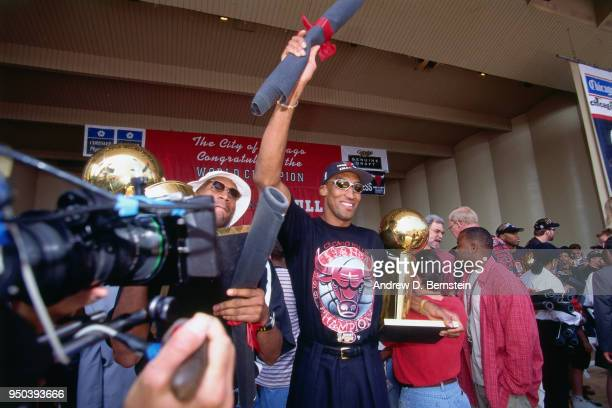Scottie Pippen of the Chicago Bulls during the 1998 Chicago Bulls Celebration Rally on June 16 1998 at Grant Park in Chicago Illinois NOTE TO USER...