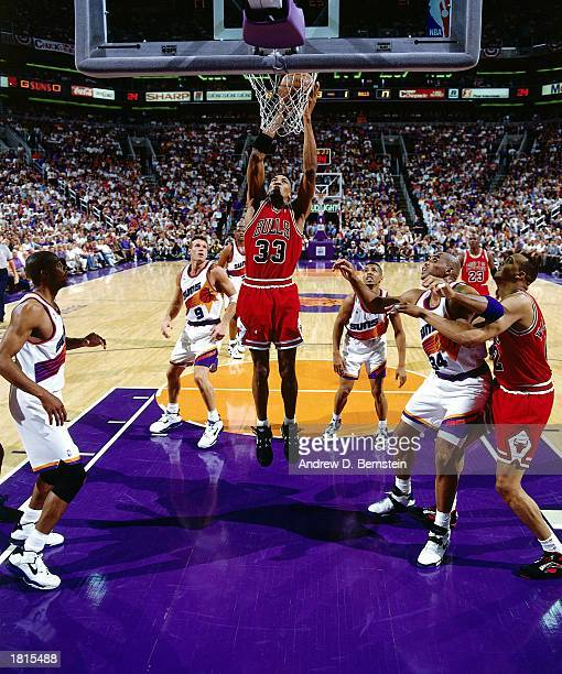Scottie Pippen of the Chicago Bulls goes for a layup against the Phoenix Suns in Game Two of the 1993 NBA Championship Finals at America West Arena...