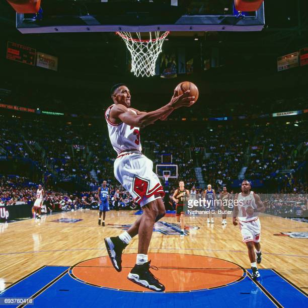 Scottie Pippen of the Chicago Bulls goes up for a dunk during the 1997 NBA AllStar Game played on February 9 1997 at Gund Arena in Cleveland Ohio...