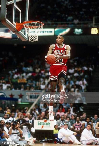 Scottie Pippen of the Chicago Bulls goes up to slam dunk the ball during the NBA Slam Dunk Contest February 10 1990 at the Miami Arena in Miami...