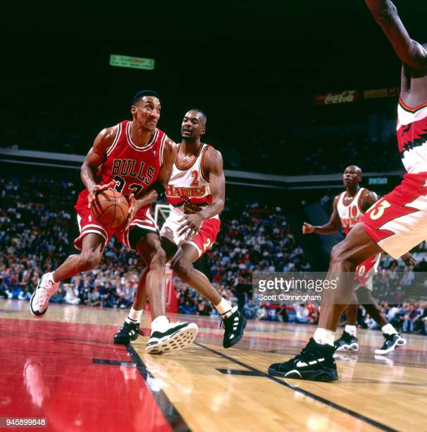 Scottie Pippen of the Chicago Bulls handles the ball against the Atlanta Hawks on February 22 1996 at the Omni Coliseum in Atlanta Georgia NOTE TO...