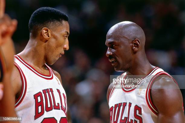 Scottie Pippen of the Chicago Bulls is seen talking to Michael Jordan of the Chicago Bulls during the game against the Atlanta Hawks on May 6 1997 at...