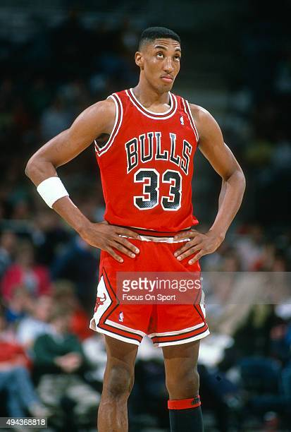 Scottie Pippen of the Chicago Bulls looks on against the Milwaukee Bucks during an NBA basketball game circa 1990 at the Bradley Center in Milwaukee...