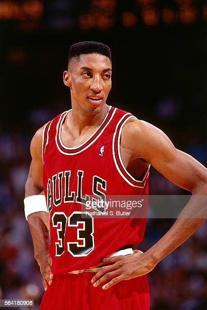 Scottie Pippen of the Chicago Bulls looks on during a game played circa 1990 at The Summit Arena in Houston Texas NOTE TO USER User expressly...