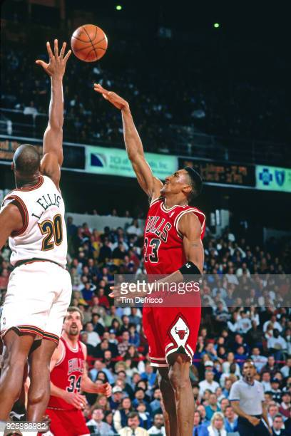 Scottie Pippen of the Chicago Bulls shoots against the Denver Nuggets on February 4 1996 at McNicols Arena in Denver Colorado NOTE TO USER User...