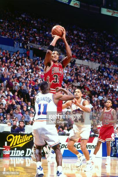 Scottie Pippen of the Chicago Bulls shoots during a game played on January 27 1994 at the Richfield Coliseum in Richfield Ohio NOTE TO USER User...